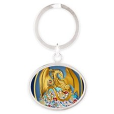 Big Gold Dragon and Globe Oval_pillo Oval Keychain