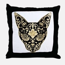 Gold and black mystic cat Throw Pillow