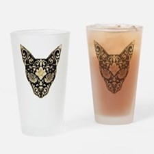 Gold and black mystic cat Drinking Glass