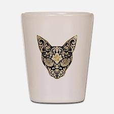 Gold and black mystic cat Shot Glass