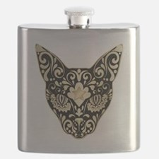 Gold and black mystic cat Flask
