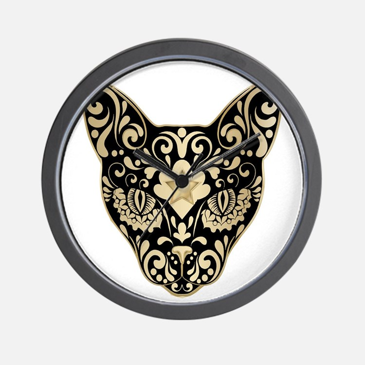 Gold and black mystic cat Wall Clock