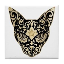 Gold and black mystic cat Tile Coaster