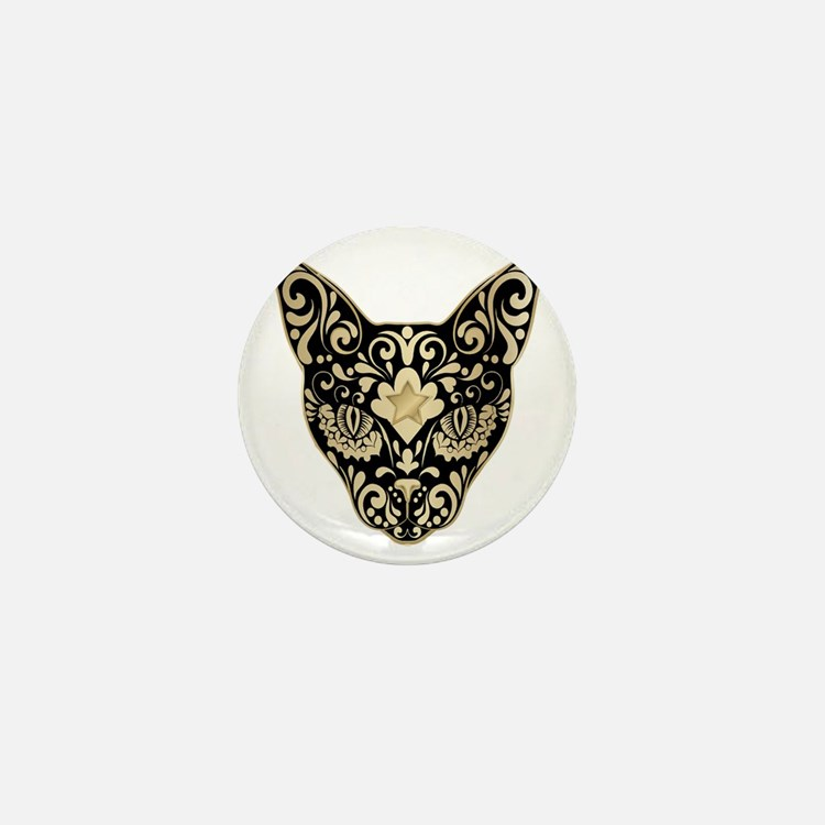 Gold and black mystic cat Mini Button