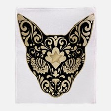 Gold and black mystic cat Throw Blanket