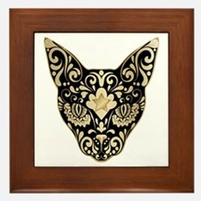 Gold and black mystic cat Framed Tile