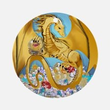 2-BigGoldDragonwithGlobe PosterP Round Ornament