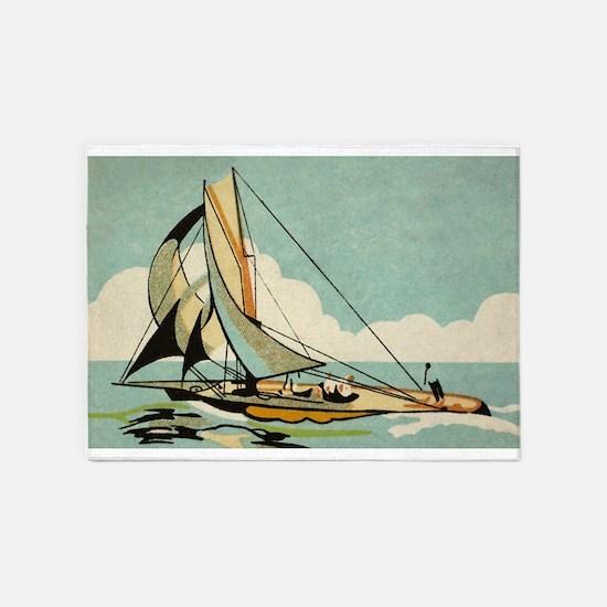 Sailboat,Japan, Vintage Art Poster 5'x7'Area Rug