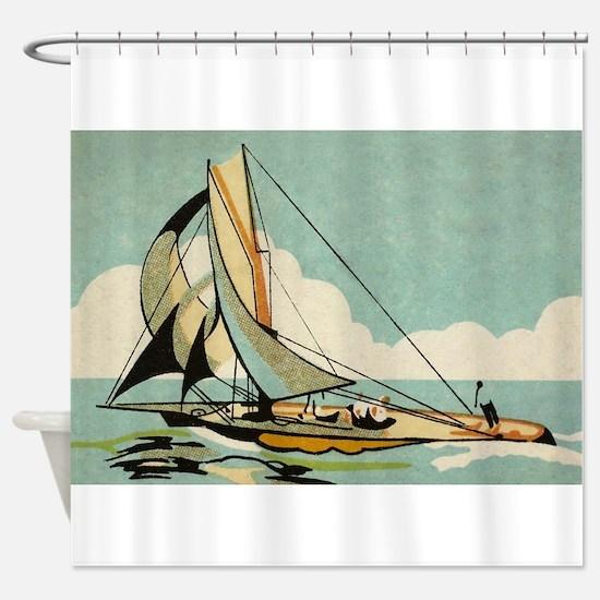 Sailboat,Japan, Vintage Art Poster Shower Curtain