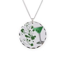St. Patricks Day Martini Necklace Circle Charm