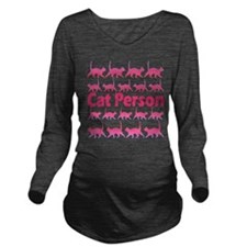 Pink Cat Person Long Sleeve Maternity T-Shirt
