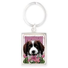 PinkTulips_English_Springer_Span Portrait Keychain