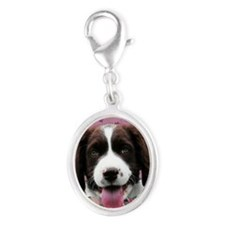 PinkTulips_English_Springer_Spa Silver Oval Charm