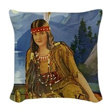 INDIAN MAIDEN Woven Throw Pillow