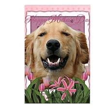 PinkTulips_Golden_Retriev Postcards (Package of 8)
