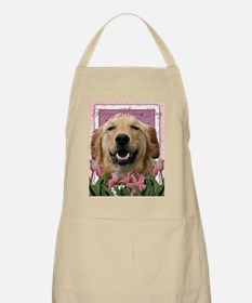 PinkTulips_Golden_Retriever Apron
