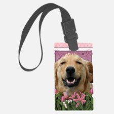 PinkTulips_Golden_Retriever Luggage Tag