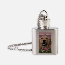 PinkTulips_Golden_Retriever Flask Necklace