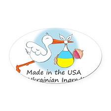 stork baby ukr 2 Oval Car Magnet