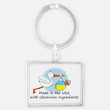 stork baby ukr 2 Landscape Keychain
