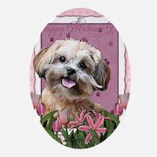 PinkTulips_ShihPoo Oval Ornament