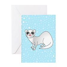 Silver Ferret Blue Star Greeting Card