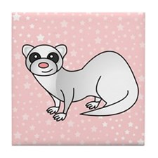 Silver Ferret Pink Star Tile Coaster
