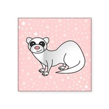 "Silver Ferret Pink Star Square Sticker 3"" x 3"""