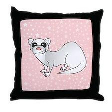 Silver Ferret Pink Star Throw Pillow
