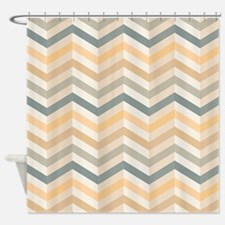 Chevron Zigzag Tan Sage Apricot Shower Curtain
