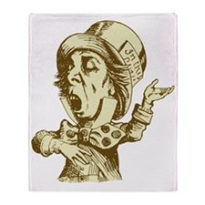Mad Hatter Sepia Throw Blanket
