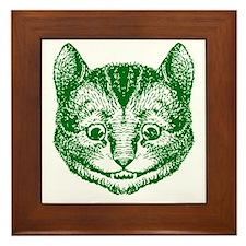 Cheshire Cat Green Framed Tile