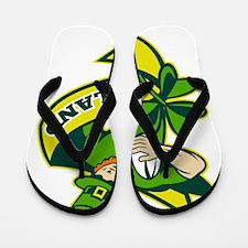 Irish rugby player leprechaun hat shamr Flip Flops