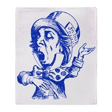 Mad Hatter Blue Throw Blanket
