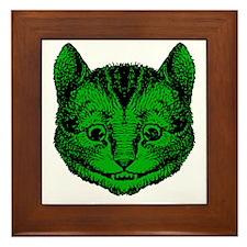 Cheshire Cat Green Fill Framed Tile