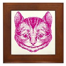 Cheshire Cat Pink Framed Tile