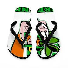 Irish leprechaun rugby player shield Ir Flip Flops