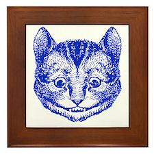 Cheshire Cat Blue Framed Tile