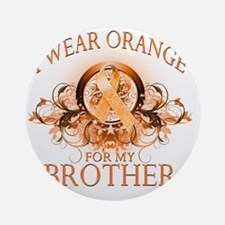 I Wear Orange for my Brother (flora Round Ornament