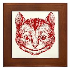 Cheshire Cat Red Framed Tile