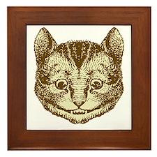 Cheshire Cat Sepia Framed Tile