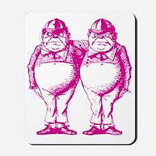 Tweedle Dee and Tweedle Dum Pink Mousepad