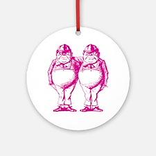Tweedle Dee and Tweedle Dum Pink Round Ornament