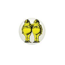 Tweedle Dee and Tweedle Dum Yellow Mini Button