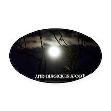 Full Moon Card Oval Car Magnet