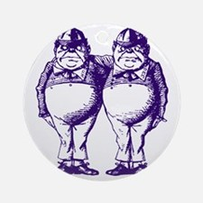 Tweedle Dee and Tweedle Dum Purple Round Ornament