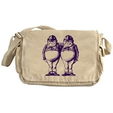 Tweedle Dee and Tweedle Dum Purple Messenger Bag
