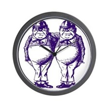 Tweedle Dee and Tweedle Dum Purple Wall Clock