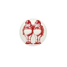 Tweedle Dee and Tweedle Dum Red Mini Button