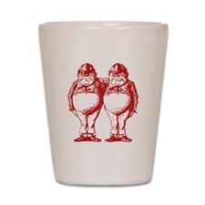Tweedle Dee and Tweedle Dum Red Shot Glass